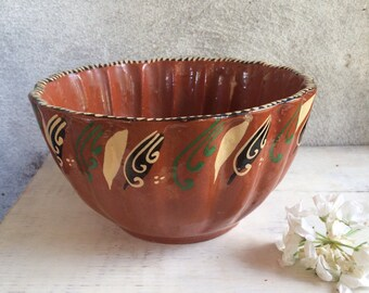 Vintage Tlaquepaque Mexican redware pottery bowl, Mexican bandera pottery, rustic primitive home decor, terra cotta bowl, Mexican kitchen