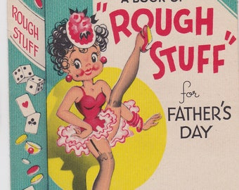 Vintage 30-40's GIBSON Greeting Card Risque Humor Can Can Girl Father's Day card