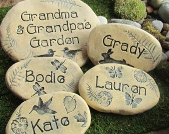Personalized Grandparent gift. Garden stones with Grandchildren names / each with different designs. Animals, insects, flowers, fairies