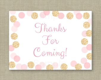 Glitter Party Favor Tags / Glitter Thank You Tags / Glitter Baby Shower / Blush Pink & Gold / Glitter Dots / INSTANT DOWNLOAD A225