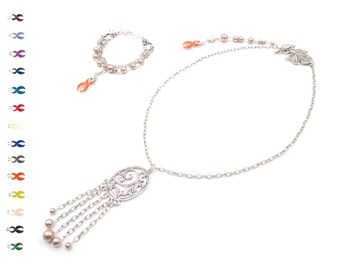 Handmade Silver Jewelry - Pearl Necklace - Inspirational Jewelry - Chain Bracelet - Jewelry Sets
