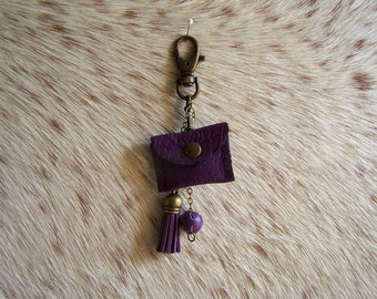 Keychain purple leather with tassel, jewelry bag leather purple, violet leather pouch for cadie piece belt decor
