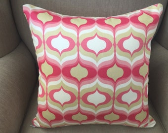 Cushion Cover/Pillow in Hourglass Blossom Pink Geometric Cotton Drapery Fabric by Waverly