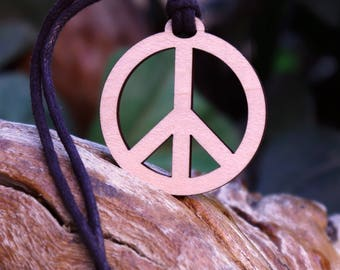 Peace Cutout Pendant Necklace - Laser Cut Homeade Engraved Women's Jewelry Gifts