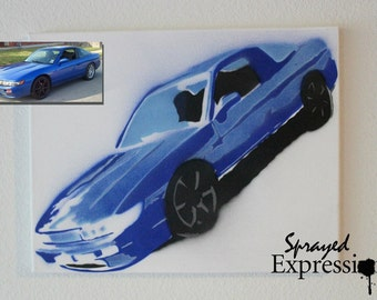 """Customizable Automobile Spray Painting, 14""""x11"""" Canvas - Made to Order"""