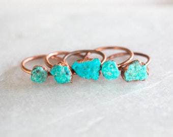 Turquoise Ring | December Birthstone Ring | Engagement Ring | Unique Engagement Ring | Organic Stone Ring | Raw Ring | Personalized Jewelry