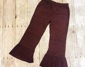 Girls Corduroy Ruffle Pants - Corduroy pants - ruffle pants