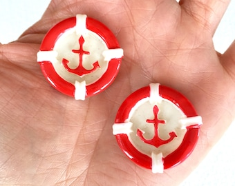4 pcs - Anchors Lifebuoy Lifebuoy Resin Flatback Cabochon - Red - 27mm - Nautical - Rockabilly - Maritime - Retro - Decoden