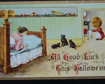 Halloween Postcard JOL People Boy Black Cat by Gottschalk Dreyfuss Davis Series 2097 Germany