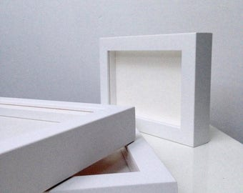 White or Black Wood Box Frame All Standard Sizes from A3 to A1 + Square with Gallery Acrylic