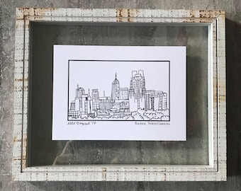 Raleigh North Carolina Skyline - Elle Karel Illustration