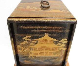Vintage Zohiko Brand H Nishimura Maki-e Lacquer Box Golden Pavilion Kinkaku-ji.