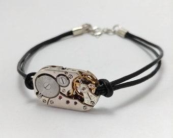 Mens bracelet black leather with antique watch movement
