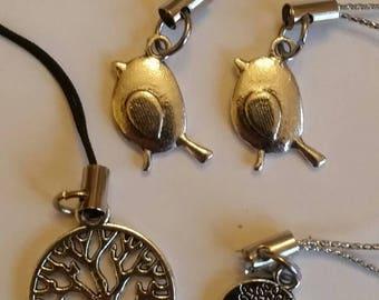 Charming mobile charm with tibetan silver charms, Robins and Tree of Life, vintage pendants