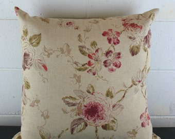 Unique European 100% Linen Fabric Cushion Cover in  Exclusive Floral Design by Peacock and Penny. 50cm x 50cm