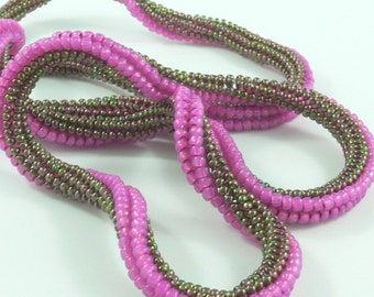Twisted herringbone beaded rope tutorial for bracelet or necklace: Instant Downloadable Pattern PDF File