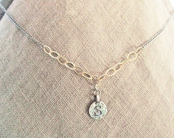 Personalized S initial necklace, S letter coin mothers necklace, mixed metal gold filled sterling silver S necklace, S letter jewelry gift