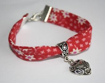 Bracelet Liberty pattern red heart white