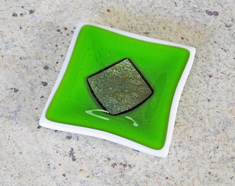 Small Green Fused Glass Dish - Green Glass Ring Dish