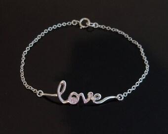 Sideways Love Bracelet in Sterling Silver or Gold