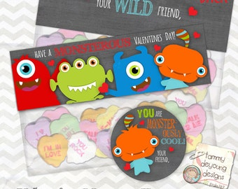 Monster Valentine Treat Bag Toppers & Tag * Valentines for kids * Boys Valentines * DIY Printable Valentines tag, personalization extra
