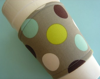 Coffee Cup Cozy Fabric Gray with Green Turquoise Black Dots