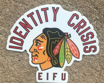 Identity Crisis Inappropriate Mascot Sticker Chicago Blackhawks NHL Hockey Please Evolve Sports Funny Native Americans confused windy city