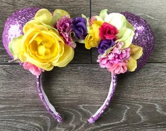 Floral Sequin Violet Purple / Flower Crown Minnie Ears
