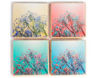 Blooming Spring Trees Coaster Set (4 Stone Coasters: Blue, Green, Pink, and Yellow) Nature Home Decor - Mother's Day Gift