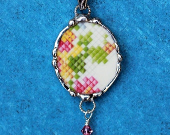 Necklace, Broken China Jewelry, Broken China Necklace, Oval Pendant, Needlepoint China, Sterling Silver, Soldered Jewelry