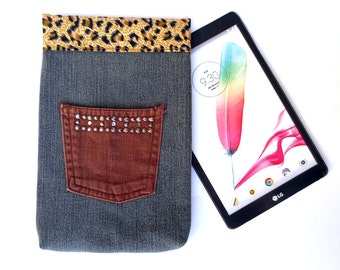 Grey Safari Denim tablet sleeve with leopard print lining, fits iPad Mini, 7 inch Kindle, Nexus 7, Nook Color, More