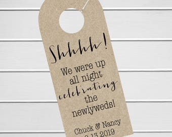 Wedding Door Hanger, Custom Hotel Door Hangers, Destination Wedding Welcome Bag  (DH-062-KR)