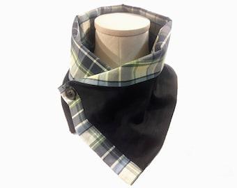 Men's Wool Pinstripe Neck Warmer with Plaid Cotton Liner, Lightweight Wool Gabardine, Dark Blue Pinstripe Neck Wrap, Unisex Scarf, Eco Gift