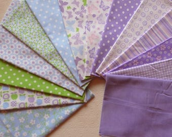14 coupons fabric patchwork Cotton sewing 30 X 14 cm PASTEL tones