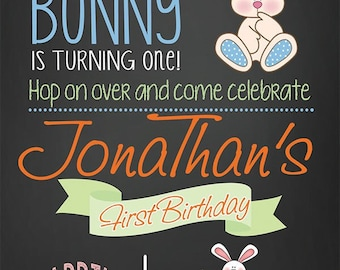 Egg Hunt, Bunny Birthday Invitation, Easter Birthday Inviations, Easter Bunny Invitation, Spring Birthday Invitation, Boy First Birthday