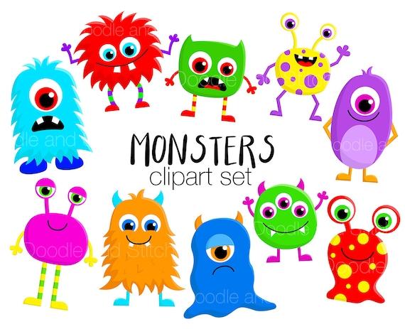 monster clipart set cute monsters clip art designs fun rh etsy com cute purple monster clipart cute monster clipart png
