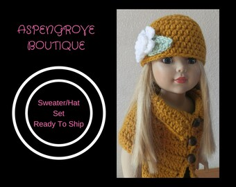 18 inch doll handmade Gold Sweater hat set Ready to ship