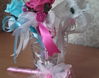 Flower wand,Bridesmaid wand,Flower girl wand,Red flower wand,Fairy wand,Pink flower wand,Blue flower wand,Yellow wand,White wand,Lilac wand