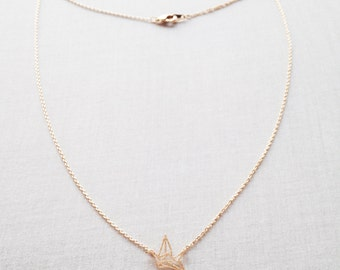 Paper Crane Necklace - Origami Crane Necklace - Crane Necklace  - Origami Necklace - Origami Crane - Crane - Gold Crane Necklace, GPN18