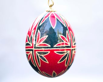 Red & Blue Egg Christmas Ornament