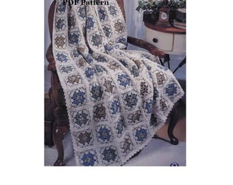 Granny Square Crochet Afghan Bedspread PATTERN - Throw - Instant Download PDF