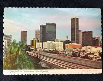 1977 Night Falls on Downtown Los Angeles Postcard