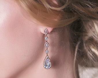 Rose Gold Earrings Wedding Jewelry Teardrop Earrings Long Drop Earrings Bridal Accessories Crystal Earrings Dainty Bridal Earrings E146-RG