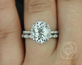 Rosados Box Federella 10x8mm & Christie 14kt White Gold Oval F1- Moissanite and Diamond Halo Wedding Set