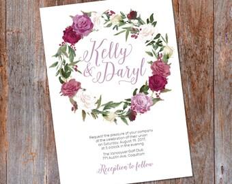 Rose wreath Wedding Invitation, flower Wedding invite template, Roses wedding Invite, floral wreath invitation, Printable wedding invitation