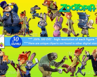 30 Zootopia Clipart - 30 PNG - 300 Dpi, Zootopia Clip art, Zootopia Png, Zootopia Instant download printable - ONLY FILES