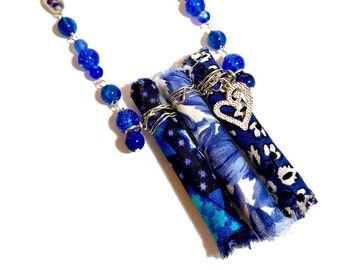 Cobalt Blue, Long Blue Necklace, Fabric Necklace, Fiber Art, Wearable Art, Upcycled Jewelry