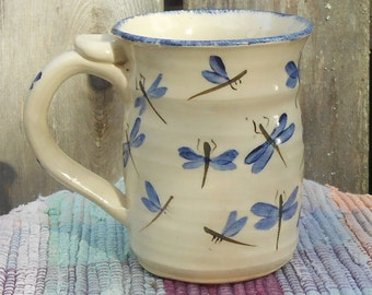 Dragonfly design handpainted pottery coffee cup - 12 oz - ceramic coffee mug - handmade ceramic blue dragonfly cup - pottery mug - df110312