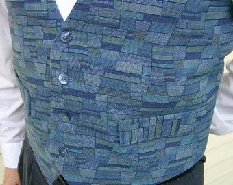 Sky Blue Menswear Fashion Vest Stained Glass Multi Blues