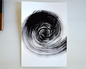 A3, Original abstract fine art drawing on paper, spiral, ink art, movement, storm, wind, movement, black and white art by Cristina Ripper